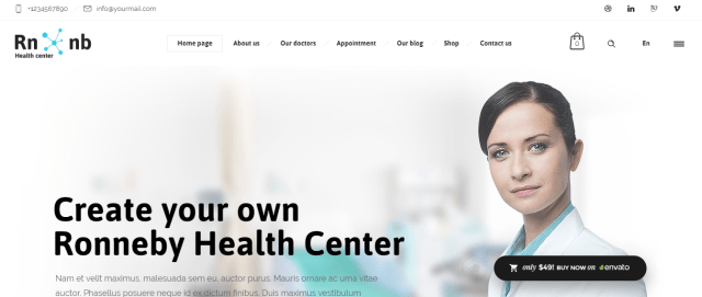 Premium Medical WordPress theme, Ronneby