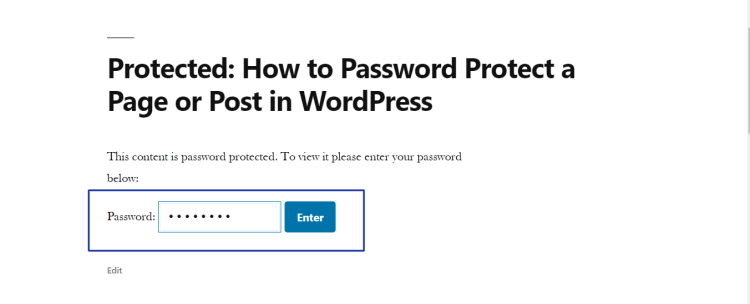 password protected post page