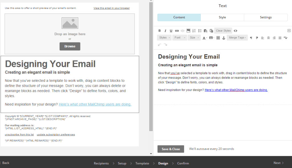 MailChimp split editing interface