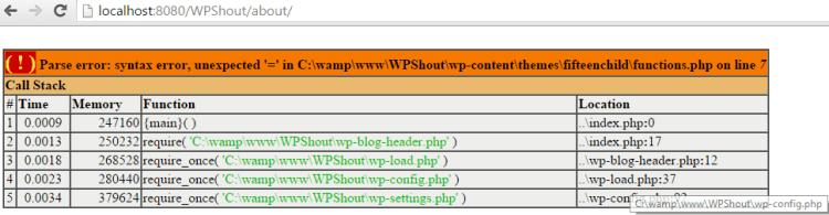 Xdebug WordPress error