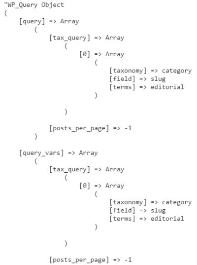 WP_Query print_r