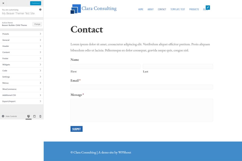 options de personnalisation de révision de thème de constructeur de castor