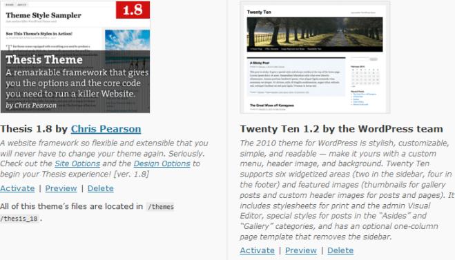 Changing WordPress Themes