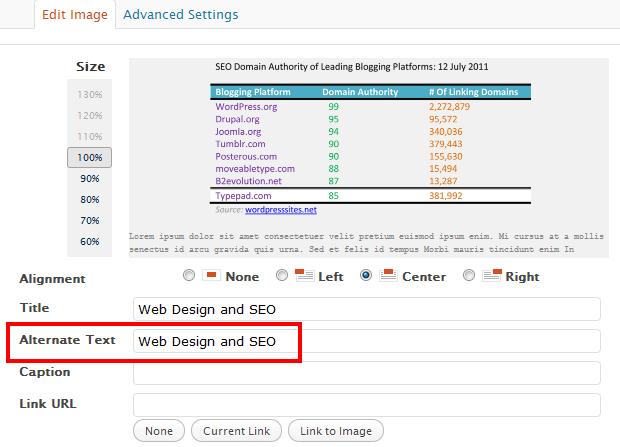 website optimization - Use ALT text in Images