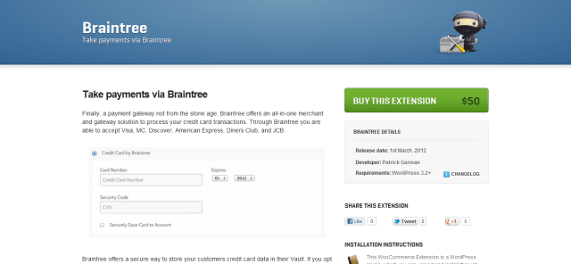 Braintree Payment Extension for WooCommerce