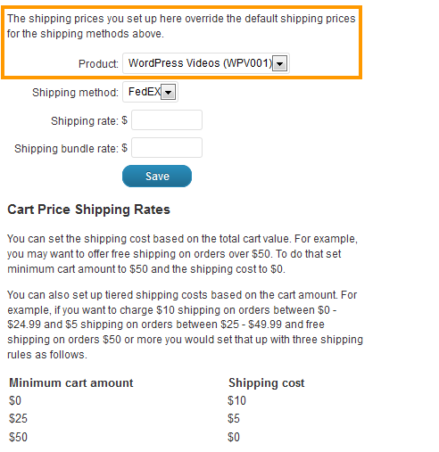Product Shipping Prices