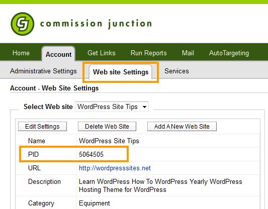 CJ - Web Site Settings