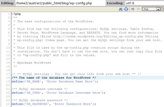 Database Configuration File