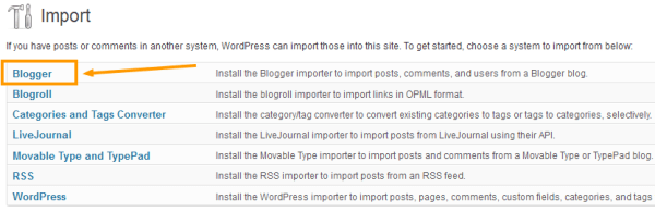 Import Tool - Blogger