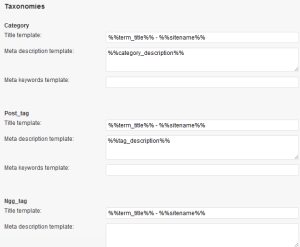 Taxonomy Settings - WordPress Seo by Yoast
