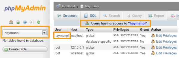 Database User Access