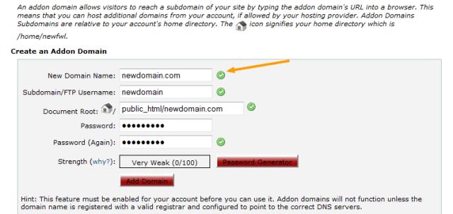 Create an Addon Domain in cPanel