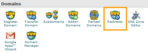 cPanel - Domains - Redirects