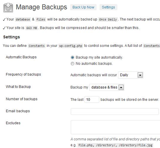 Backup WordPress Settings