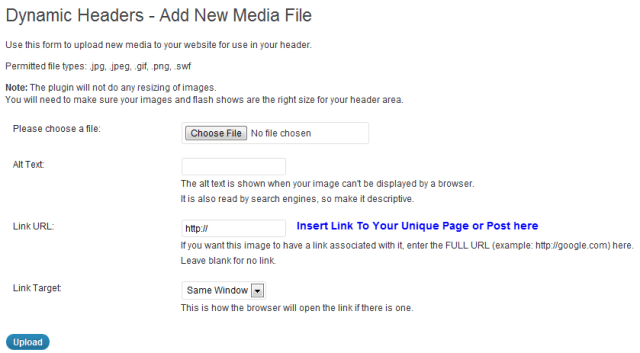 Dynamic Headers - Add New Media File