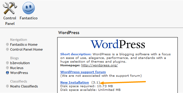 New Installation of WordPress