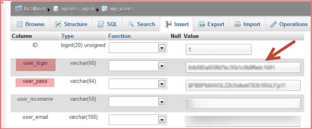 Change WordPress Login Details PhpMyAdmin
