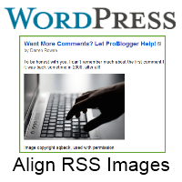 align images rss feed