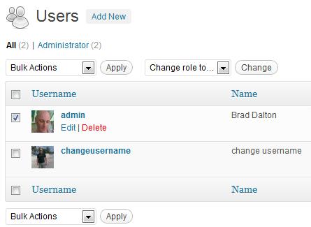 Delete Old Admin User