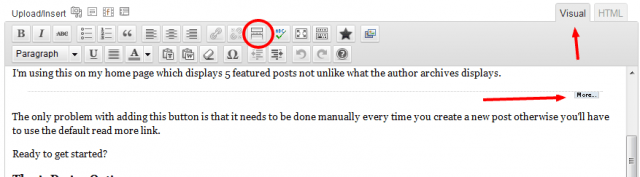 Insert More Tag Visual Editor
