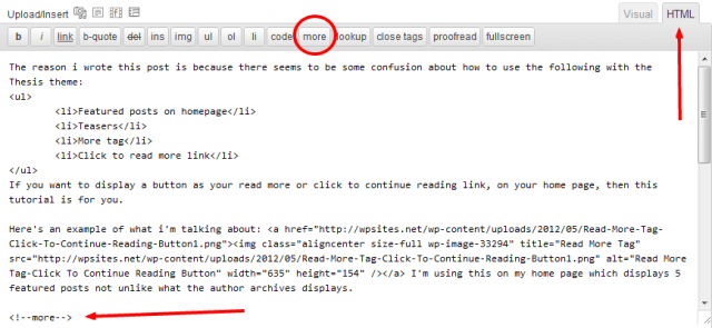 Insert Read More Tag HTML Editor