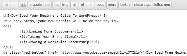 wp html Editor