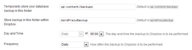 WordPress Backup To Dropbox Plugin Settings