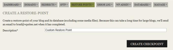 Create Manual Restore Point