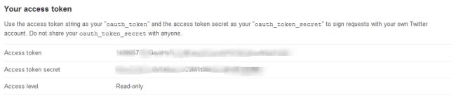 Access Token and Secret