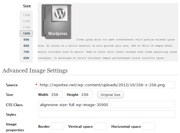 Advanced Image Settings in WordPress