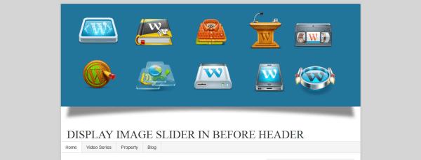 Display Image Slider Before Header With Shadow