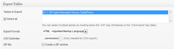 Export Tables HTML Code