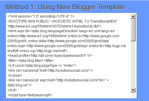New Blogger html template code