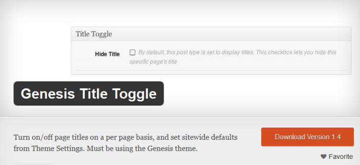 Genesis Title Toggle Plugin
