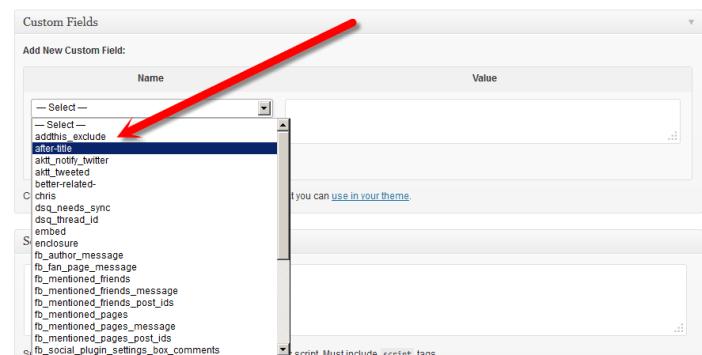 select custom field from drop down menu