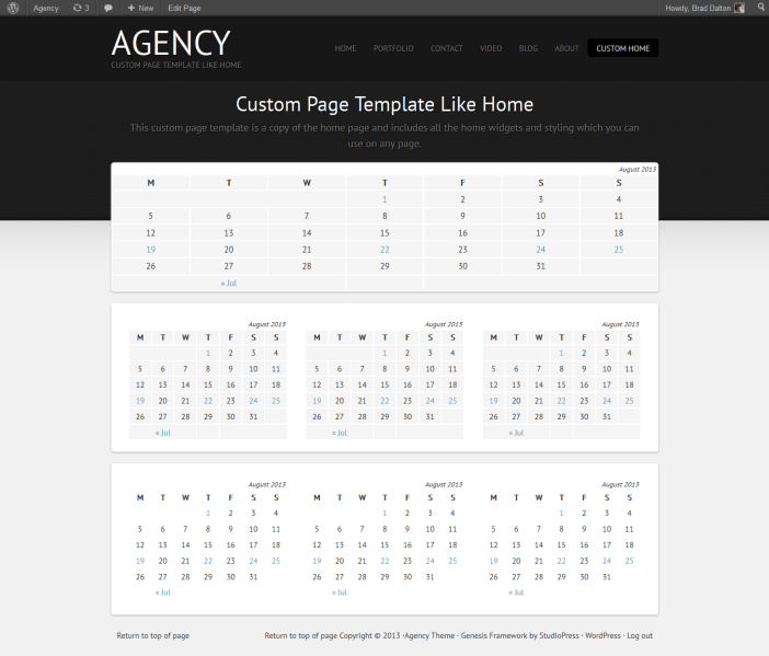 custom home page template for Agency theme