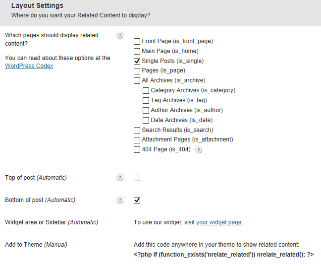 layout settings
