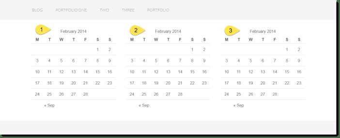 3 widgets in columns