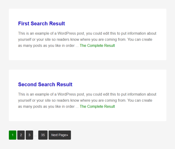 Customize Search Results Page