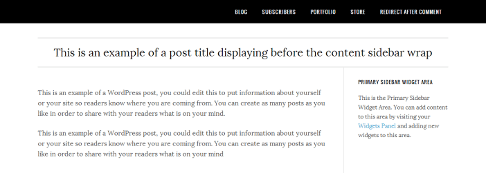 custom single.php file adds post title before content sidebar wrap