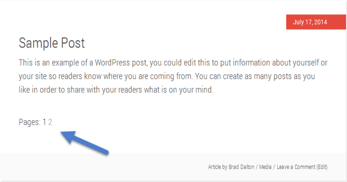default page links position