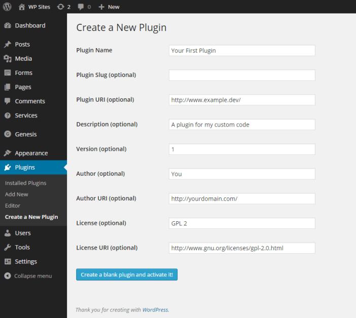Create a New Plugin