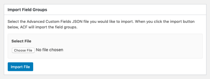 Import Fields Groups
