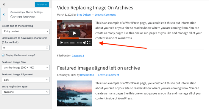 Replace Archive Thumbnail With Video in Genesis