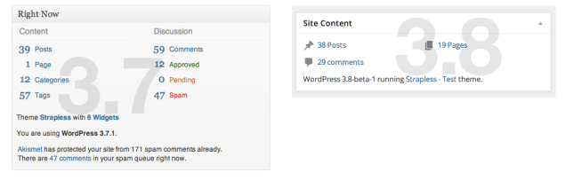 WordPress Dashboard (3.8) - Right Now
