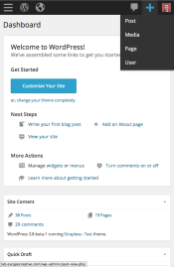 WordPress 3.8 - Mobile Dashboard (Add New)