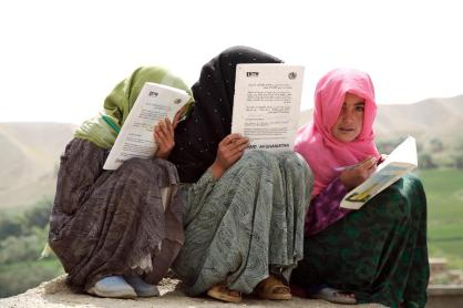 Young Girls Prepare for Exams in Afghanistan