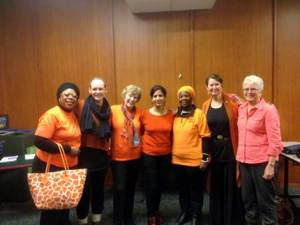 """Orange"" participants on Nov. 26th -  from L to R: Roxana Obasi, Emily Rempel, Mary Scott, Meenu Kapoor, Gertrude Hambira, Marilou McPhedran, Nancy Cosway"