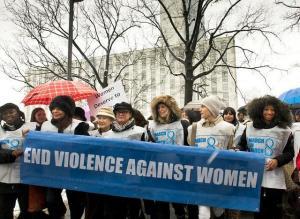 """UN Women for Peace"" march marking International Women's Day in 2013. Photo credit: Mark Garten / United Nations."