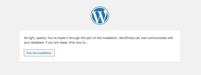 Run the installation WordPress